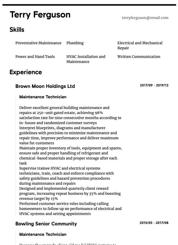 thumbnail image of Maintenance Technician resume from Resume.com