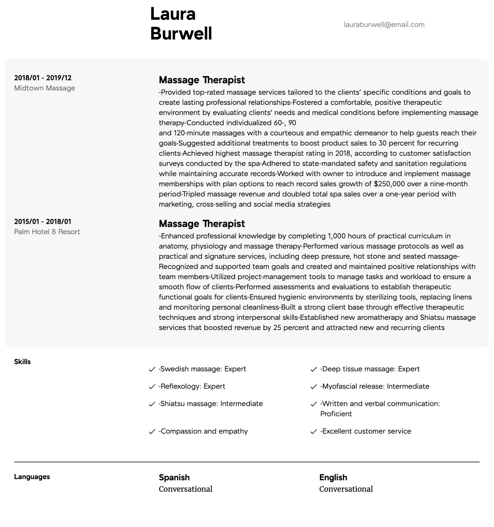 massage therapist resume samples  all experience levels
