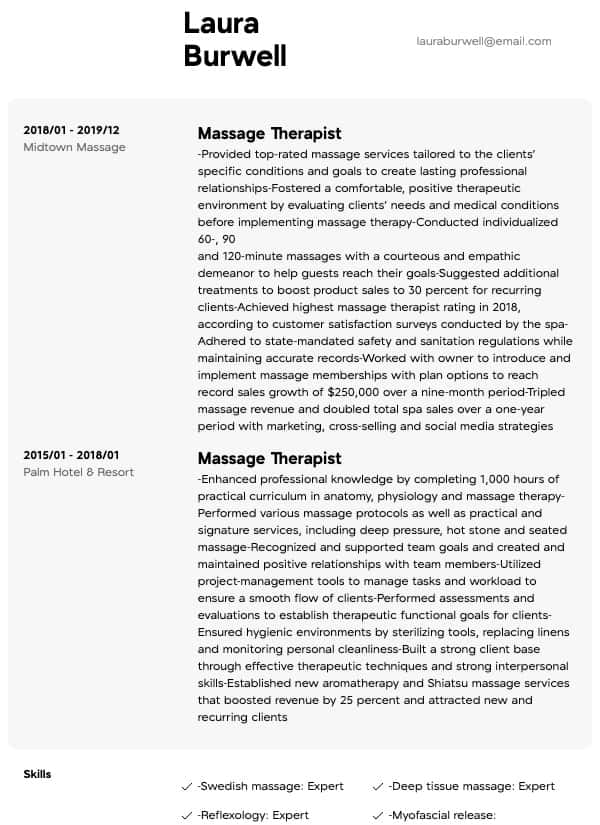 thumbnail image of Massage Therapist resume from Resume.com