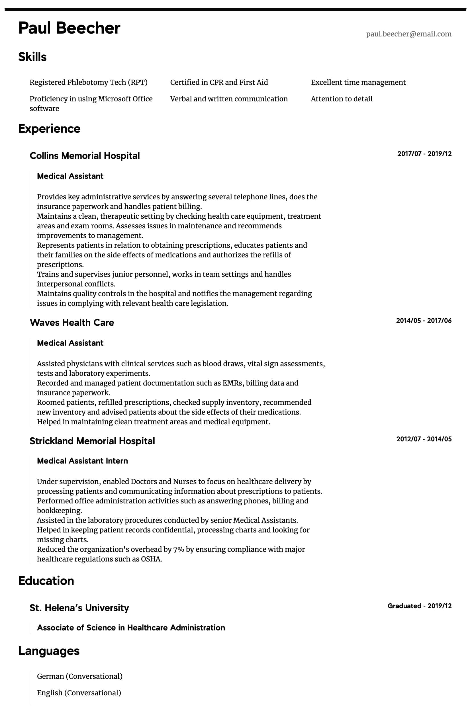 Medical Assistant Resume Samples All Experience Levels Resume Com Resume Com