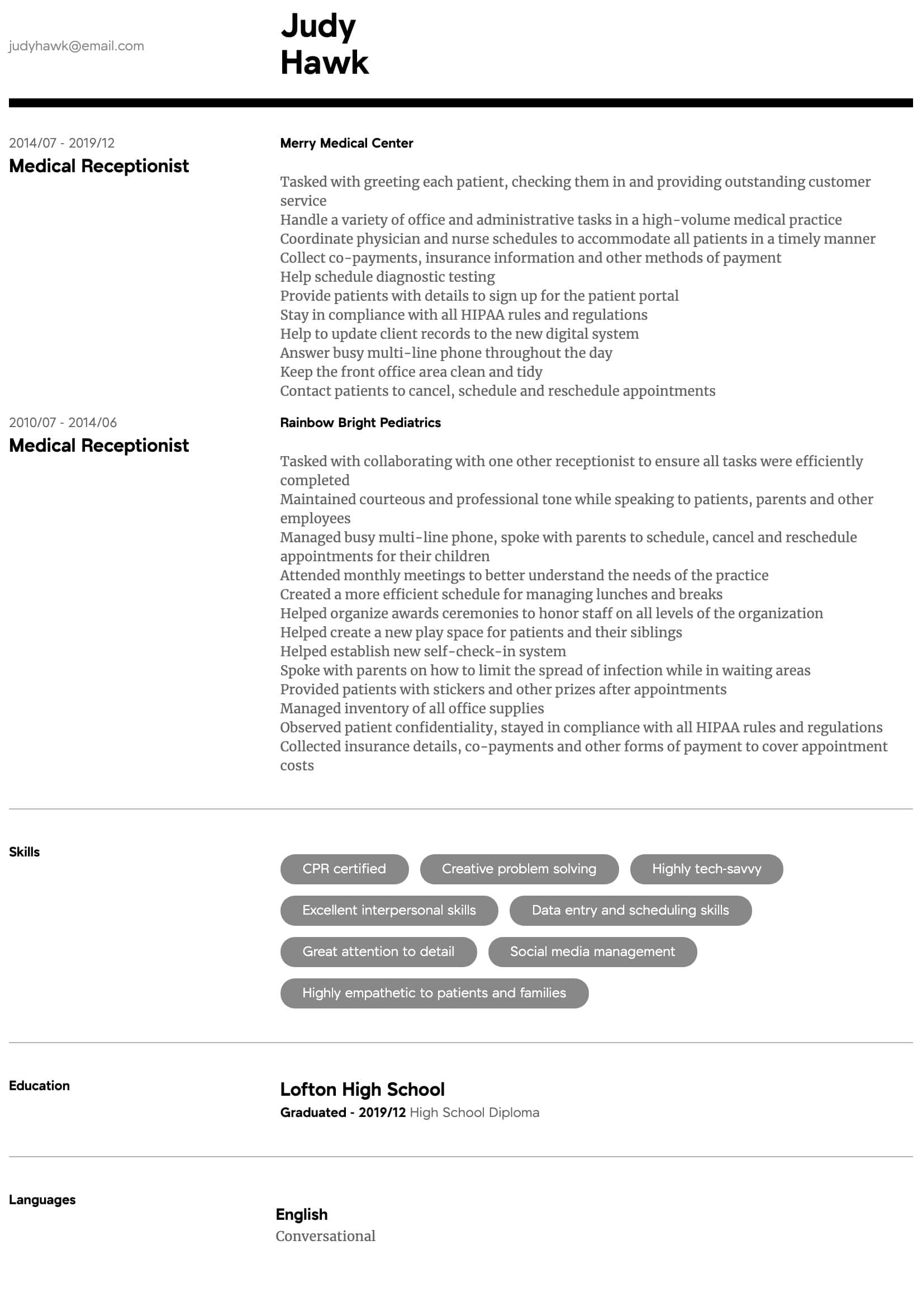 Medical Receptionist Resume Samples All Experience Levels