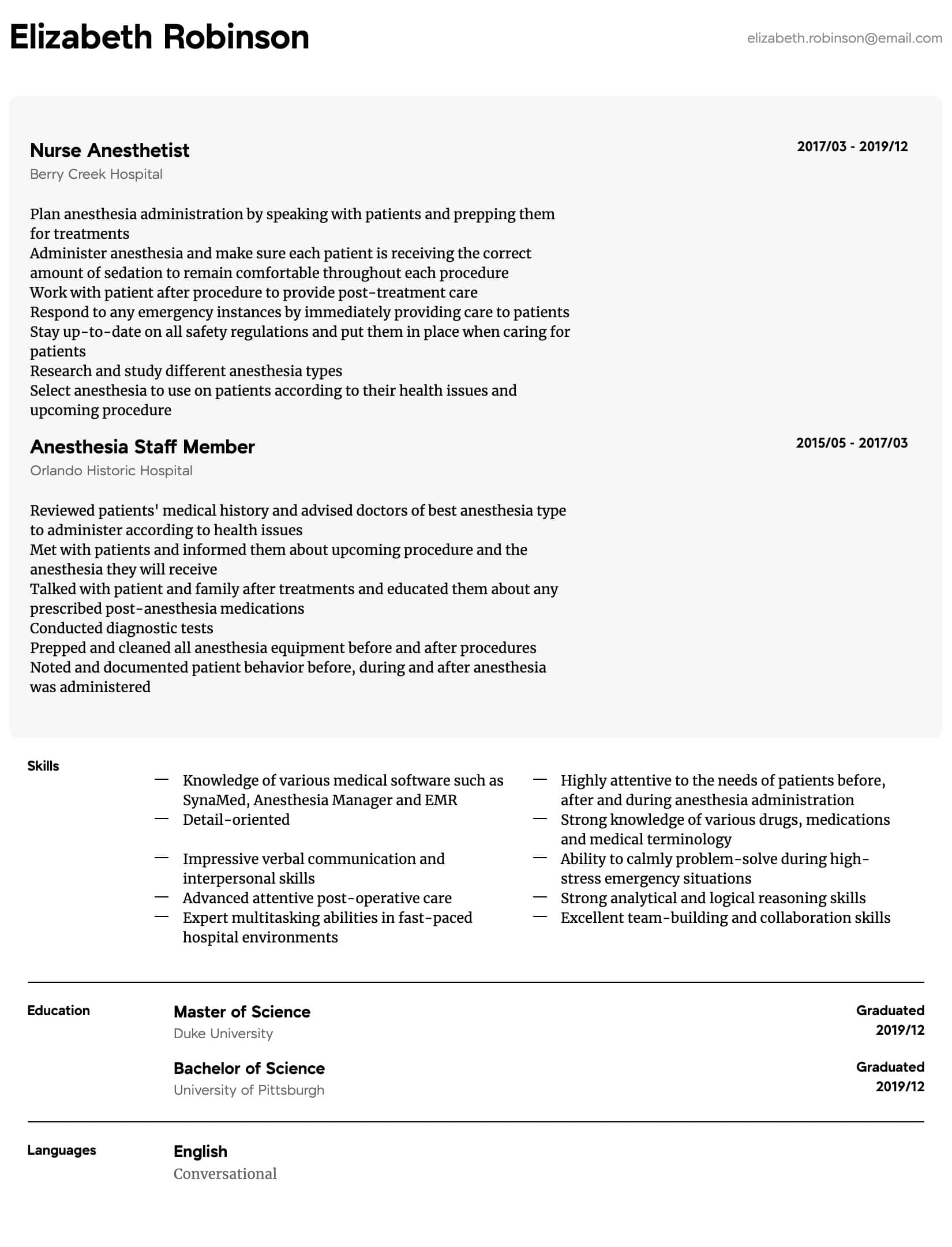 nurse anesthetist resume samples  all experience levels