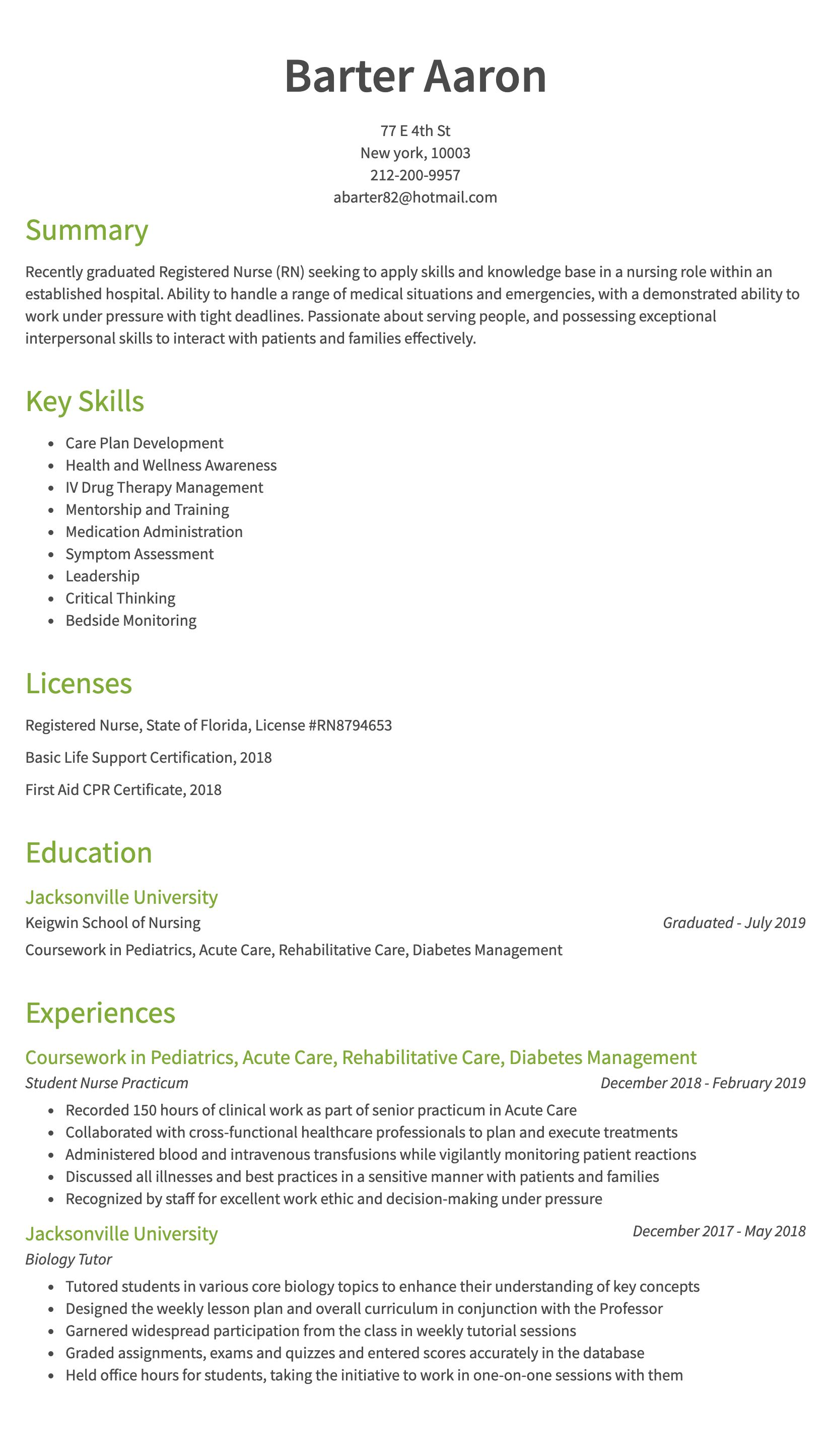 30 Nursing Resume Examples Samples Written By Rn Managers Resume Com