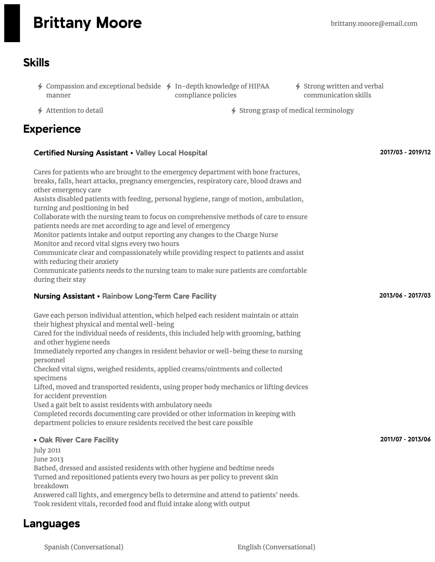 Nursing Assistant Resume Samples All Experience Levels Resume