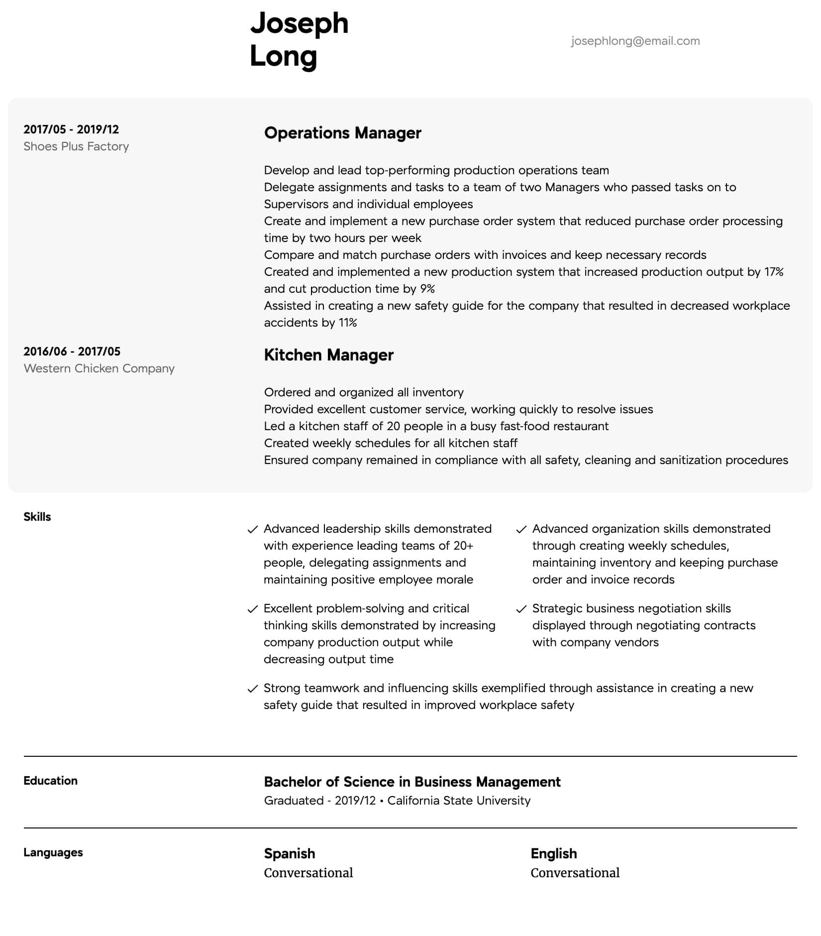 Operations Manager Resume Samples All Experience Levels Resume