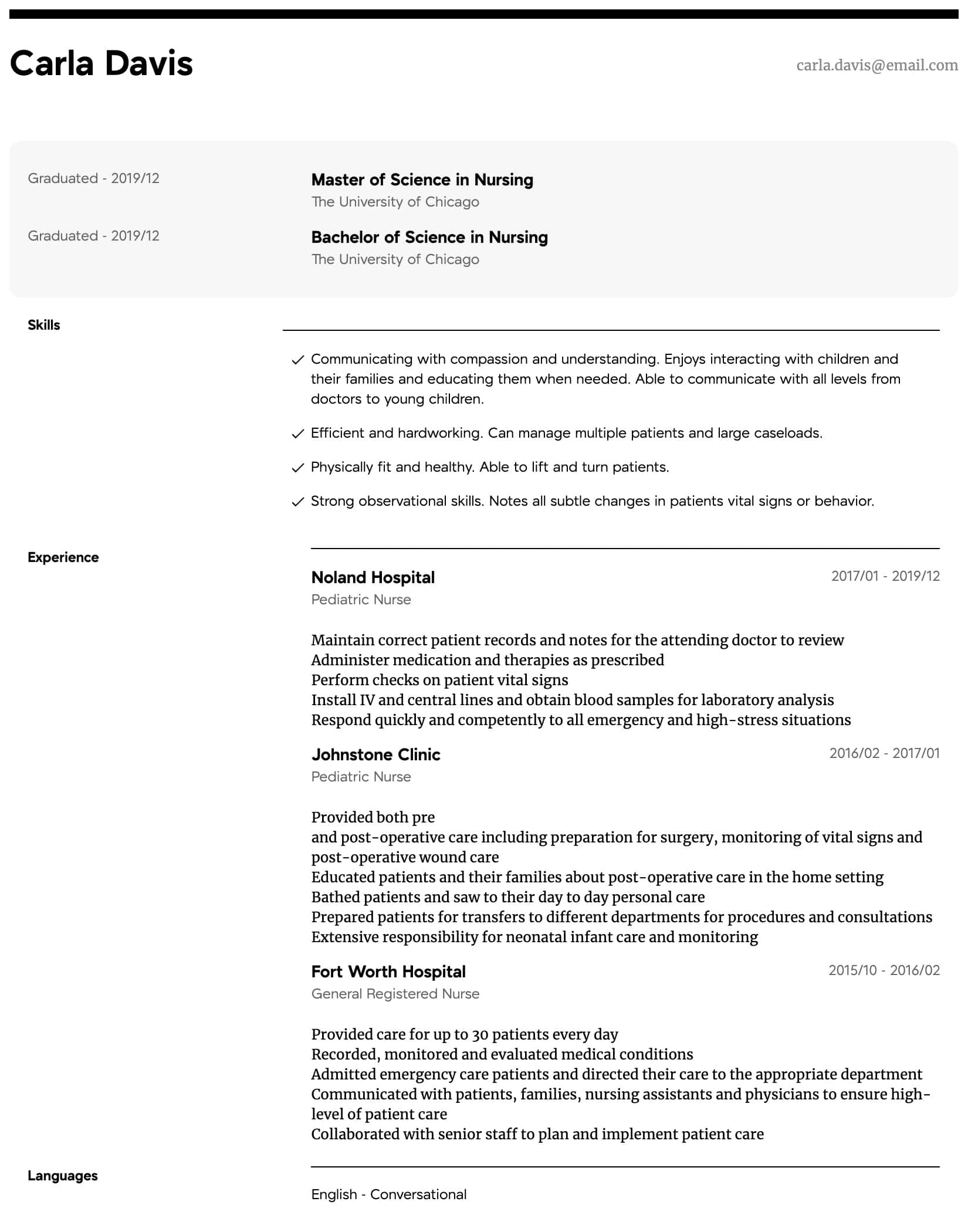 Pediatric Nurse Resume Samples All Experience Levels