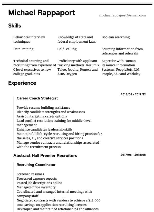 thumbnail image of Recruiter resume from Resume.com
