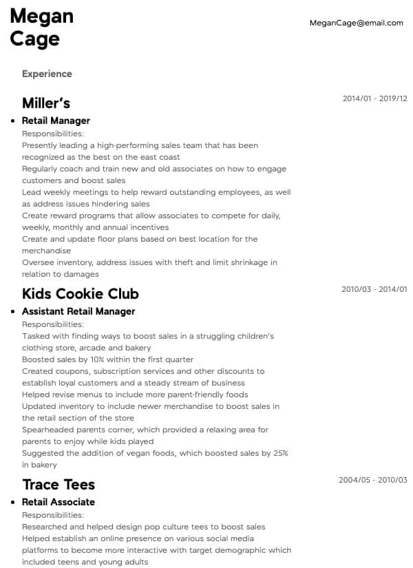 thumbnail image of Retail Manager resume from Resume.com