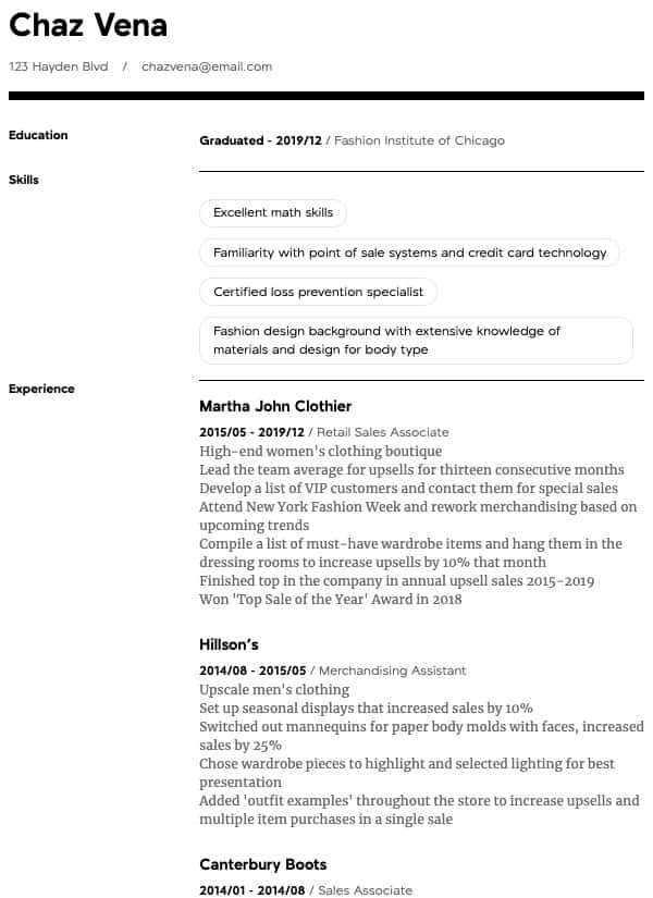 thumbnail image of Retail resume from Resume.com