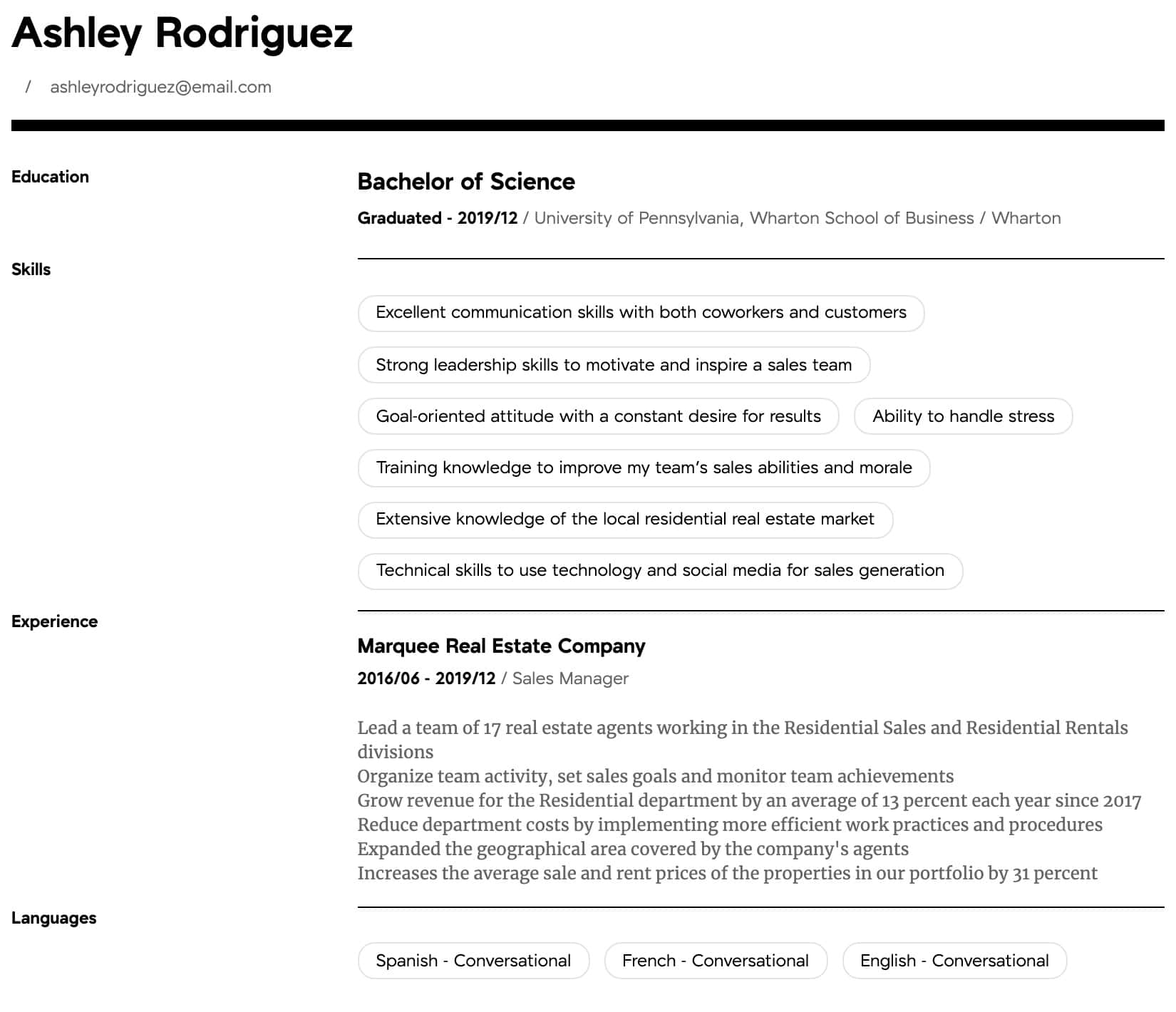 Sales Manager Resume Samples | All Experience Levels ...