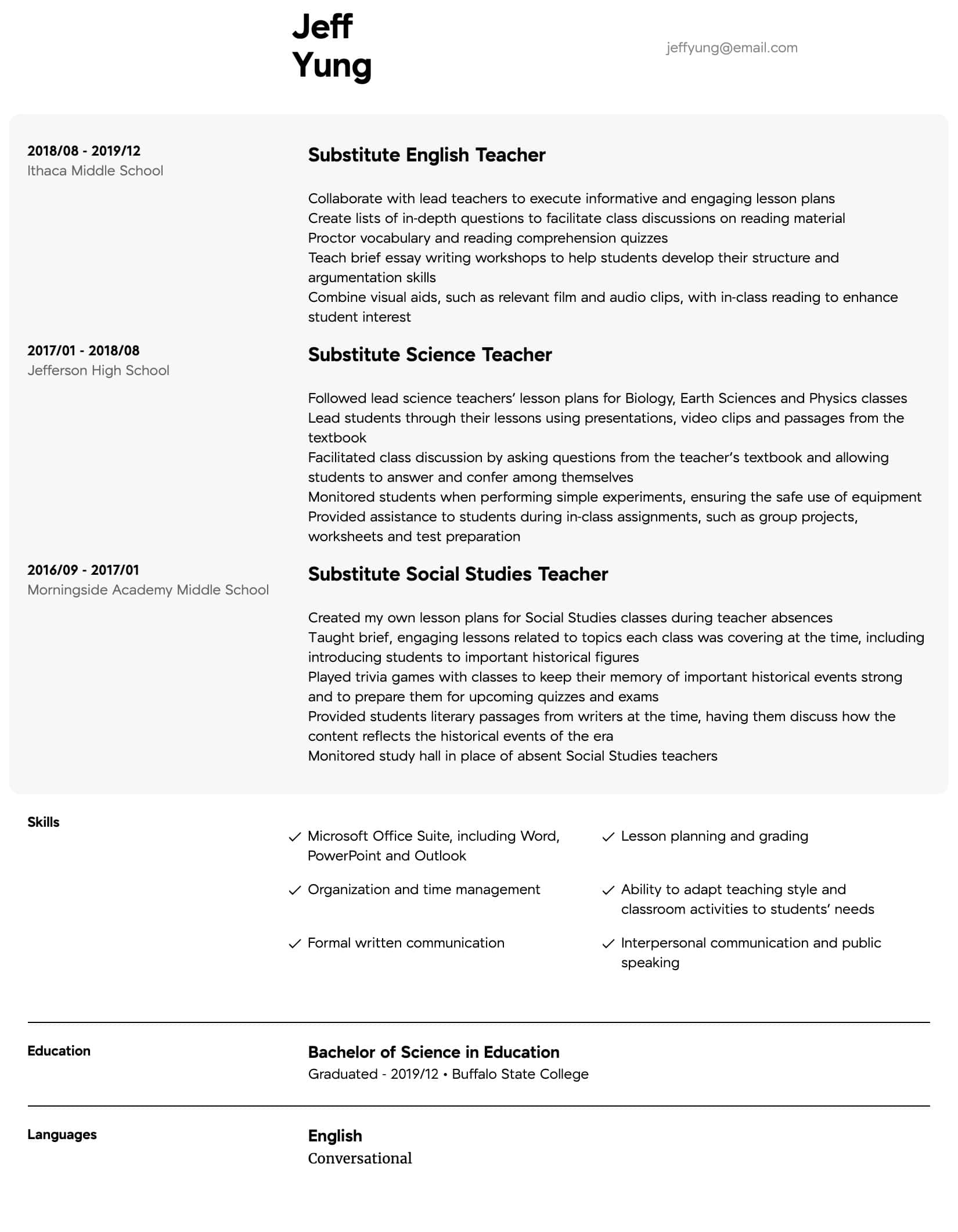substitute teacher resume samples