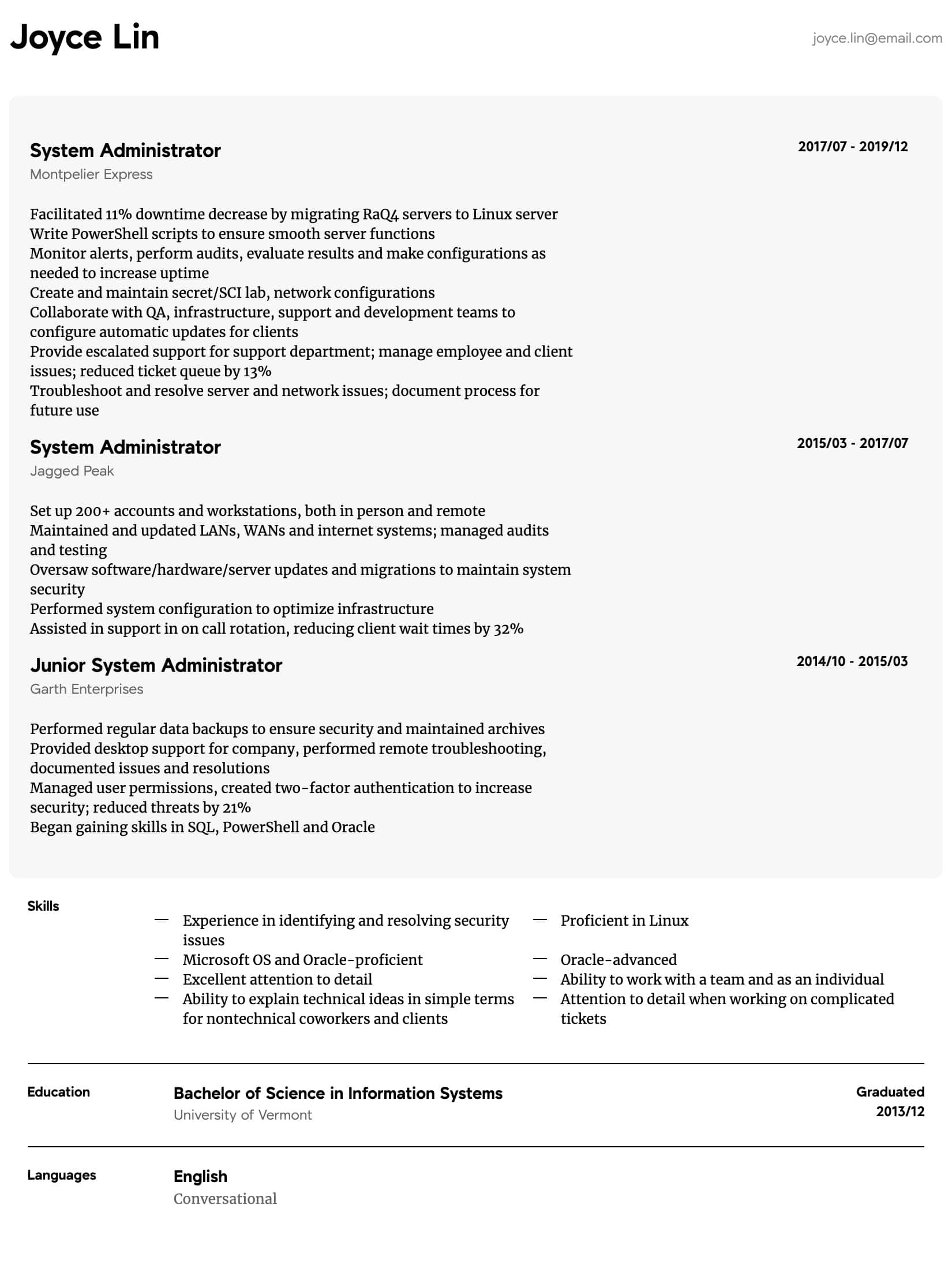 System Administrator Resume Samples All Experience Levels