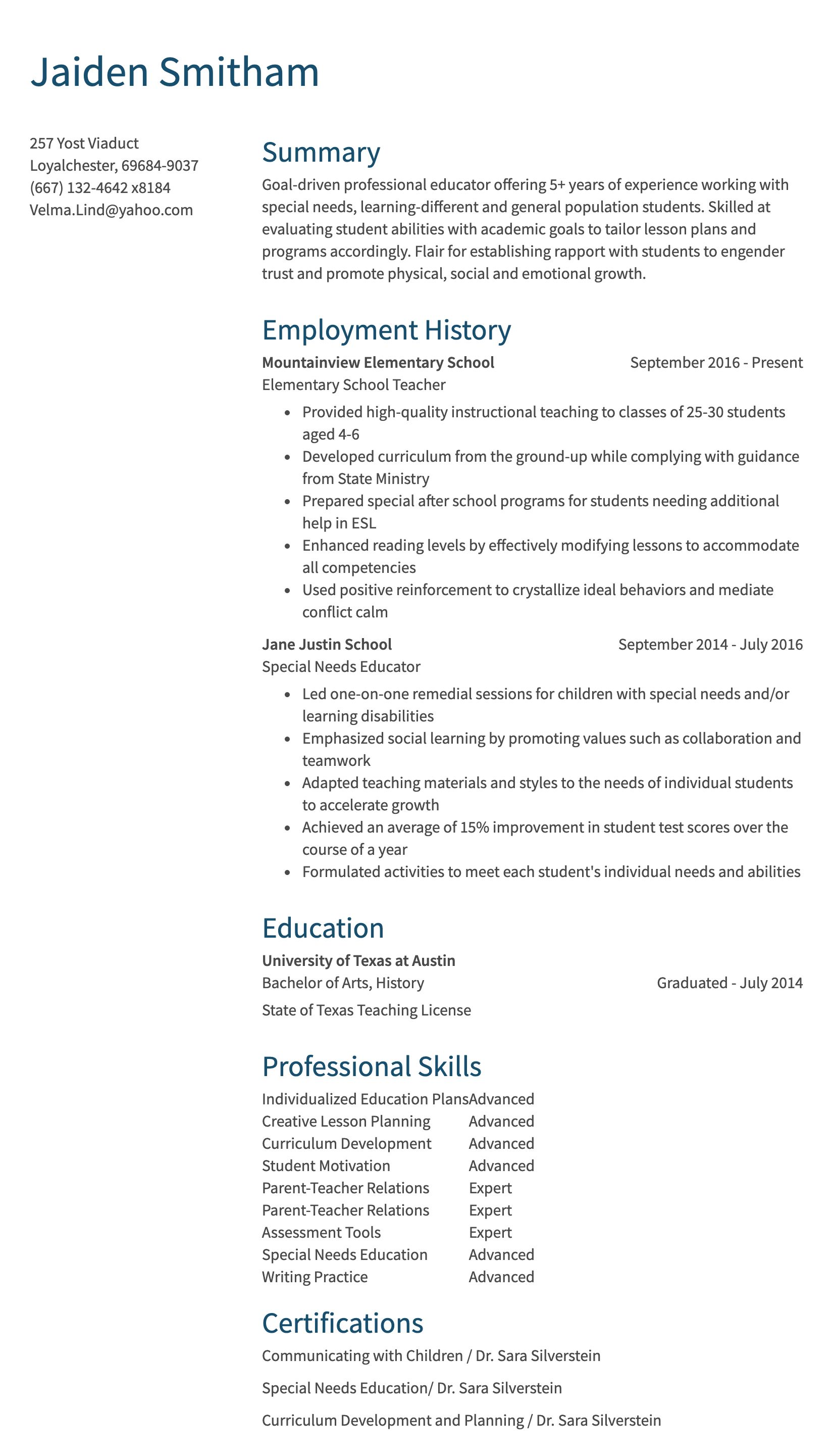 teaching resume sample
