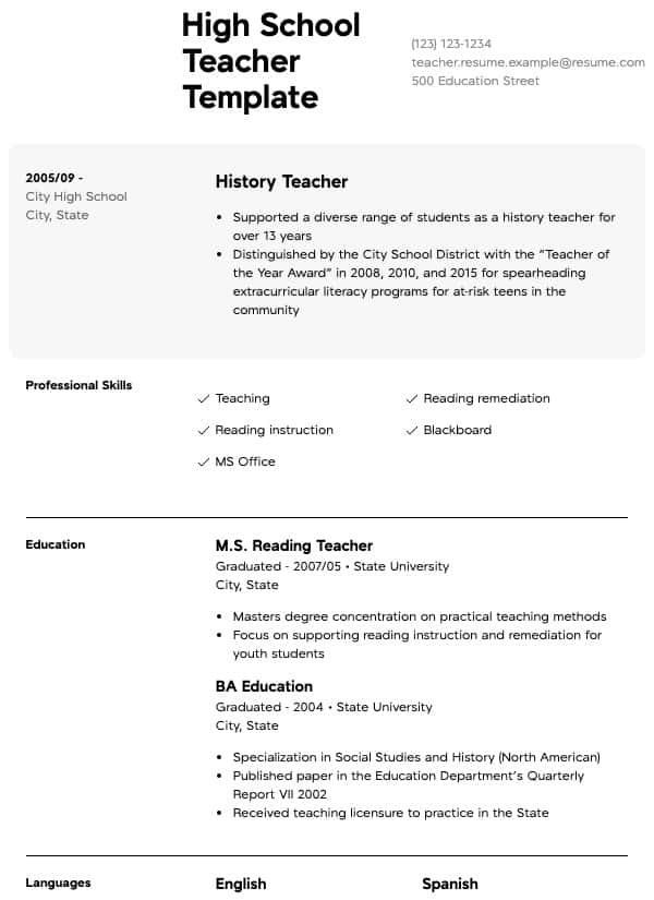 teacher resume samples