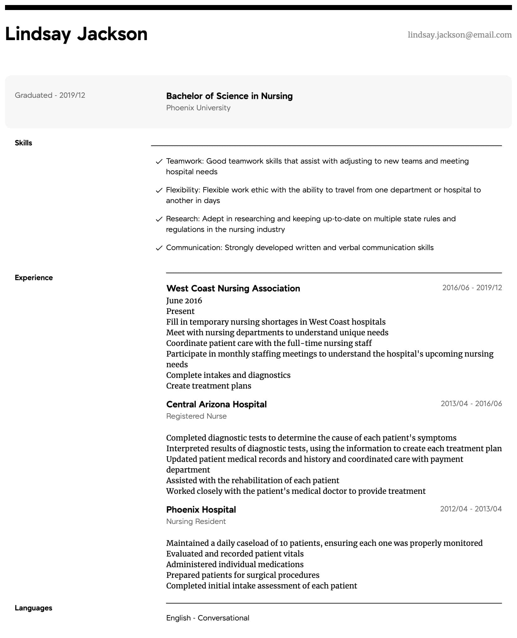 Travel Nursing Resume Samples All Experience Levels