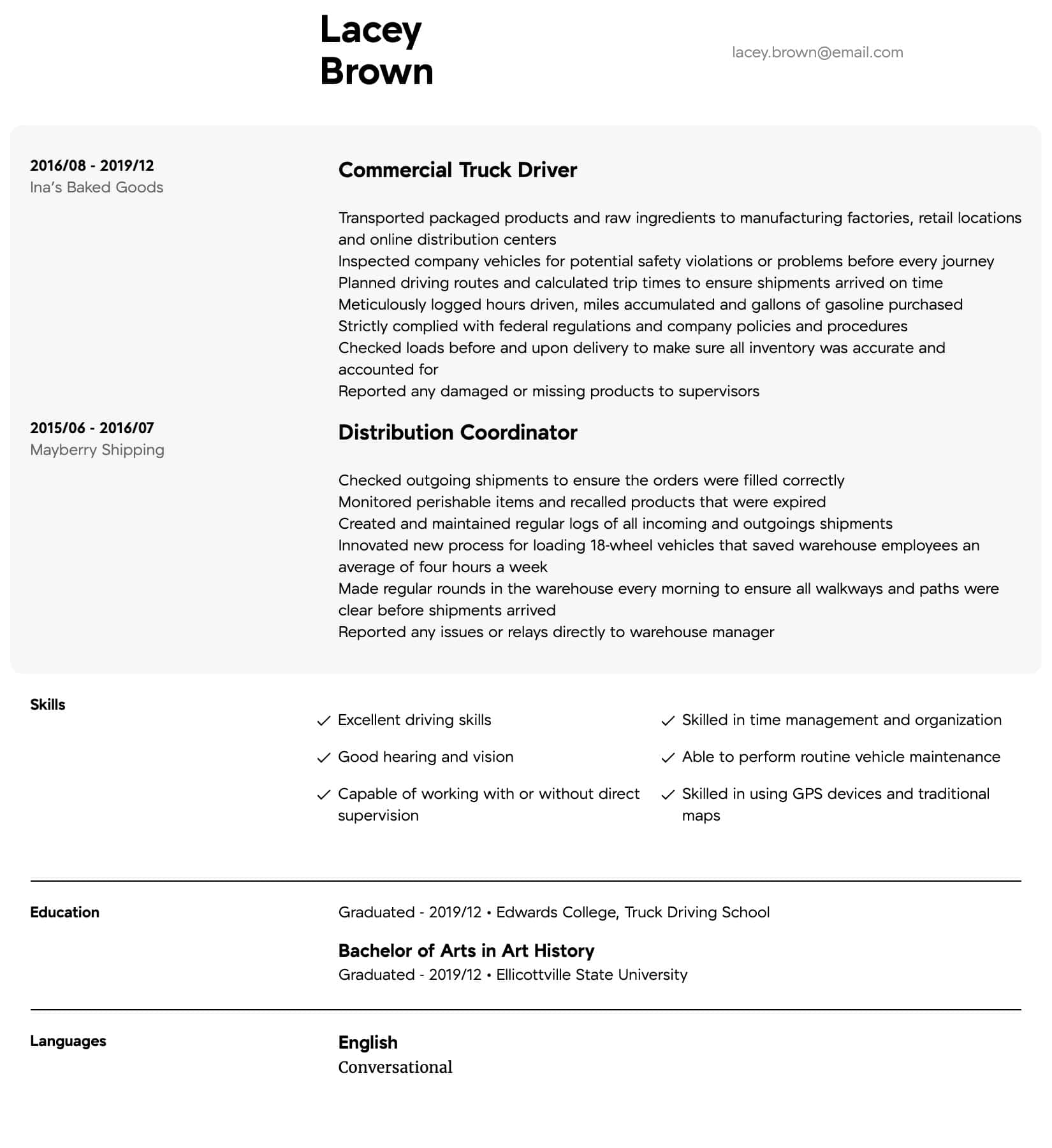 resume samples for drivers