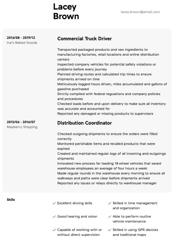 thumbnail image of Truck Driver resume from Resume.com