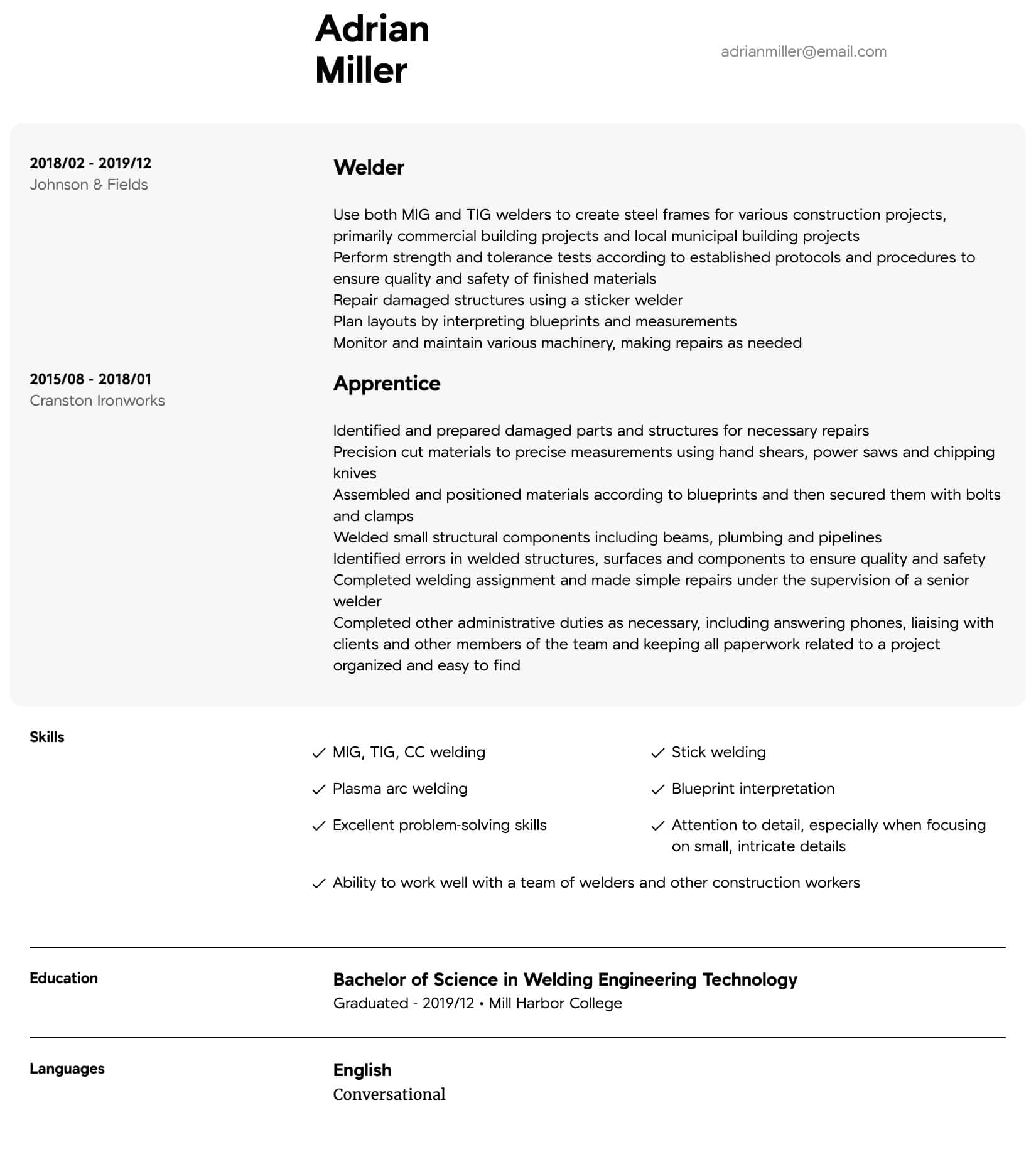 Welder Resume Samples All Experience Levels Resume Com Resume Com