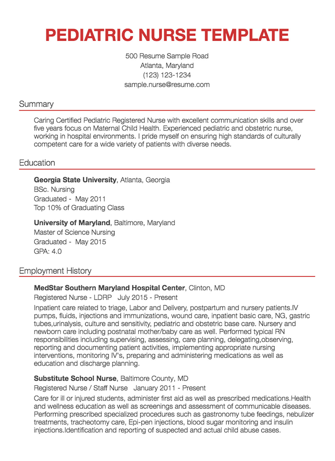 Pediatric Registered Nurse Example Nursing Consultant Resume
