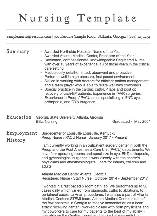 resume samples for nursing