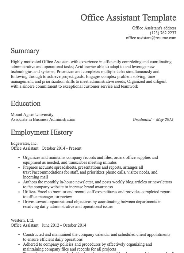 thumbnail image of Office Assistant resume from Resume.com