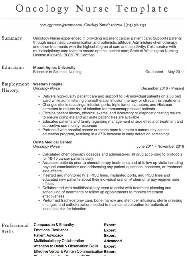 Oncology Nurse Example Nursing Aide Resume