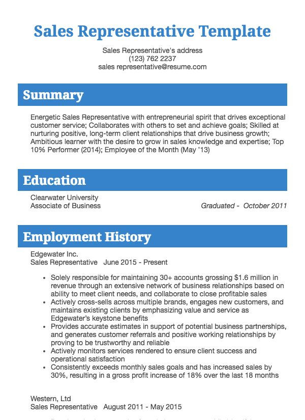 thumbnail image of Sales Representative resume from Resume.com