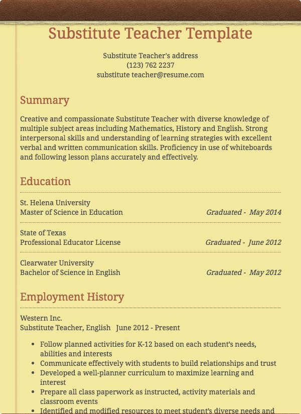 Substitute Teacher Resume Sample Resume Com