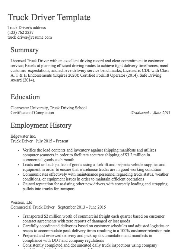 Truck Driver Resume Sample Resume Com